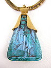 Lovely Turquoise Czech Glass Egyptian Revival Necklace