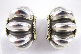 Classic Lagos Sterling 18k Ridged Earrings