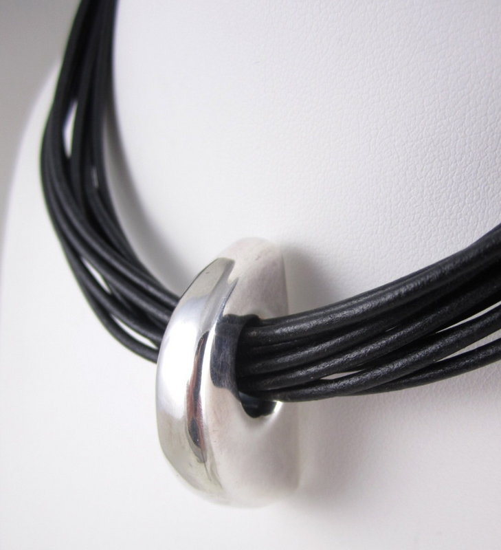 Simon Sebbag Sterling and Leather Necklace