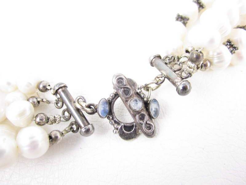 Gorgeous Pearl and Sterling Torsade Necklace