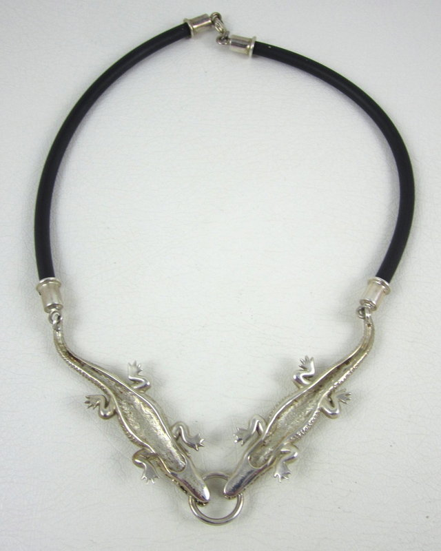 Sergio Bustamante Sterling & Leather Alligator Necklace