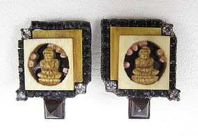 Unusual Robert Sorrell Rhinestone Ivory Buddha Earrings