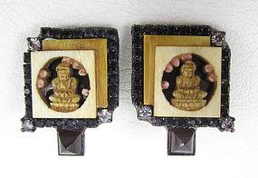 Unusual Robert Sorrell Rhinestone Ivory Buddha Earrings