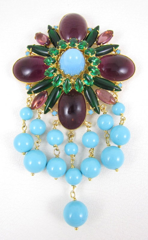 Gorgeous Robert Sorrell Turquoise Purple Dangling Pin