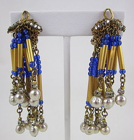 Unusual Miriam Haskell Chandelier Earrings