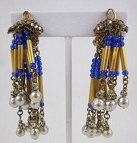 Unusual Miriam Haskell Chandelier Earrings