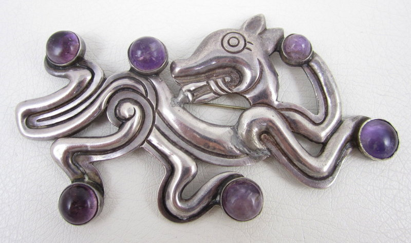 Iconic William Spratling Sterling Amethyst Jaguar Pin