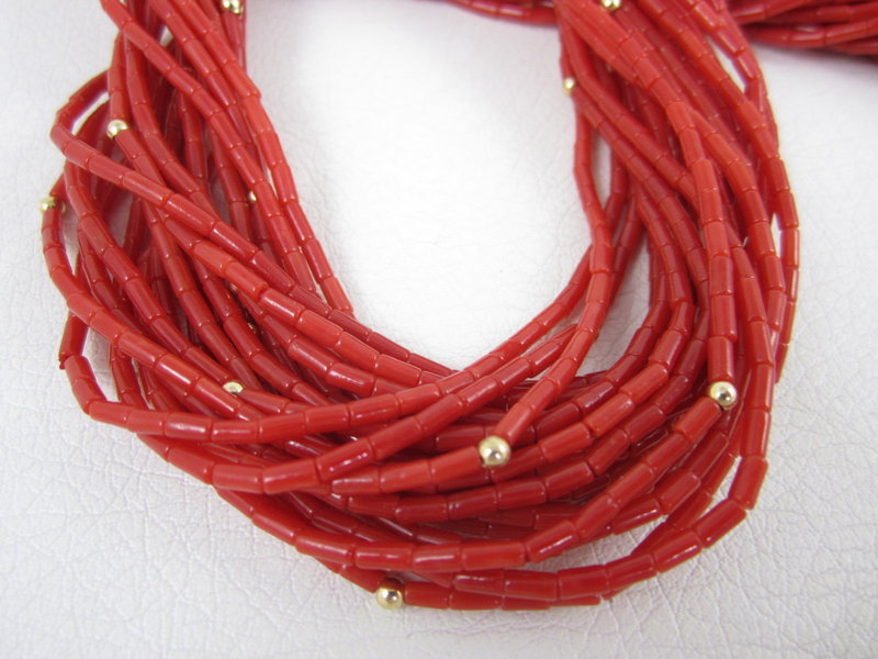 Outstanding 18K Red Coral 20 Strand Necklace