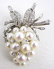 Gorgeous 18K Diamond & Pearl Grape Cluster Pin