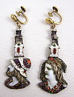 Unusual French Enamel Renaissance Style Earrings