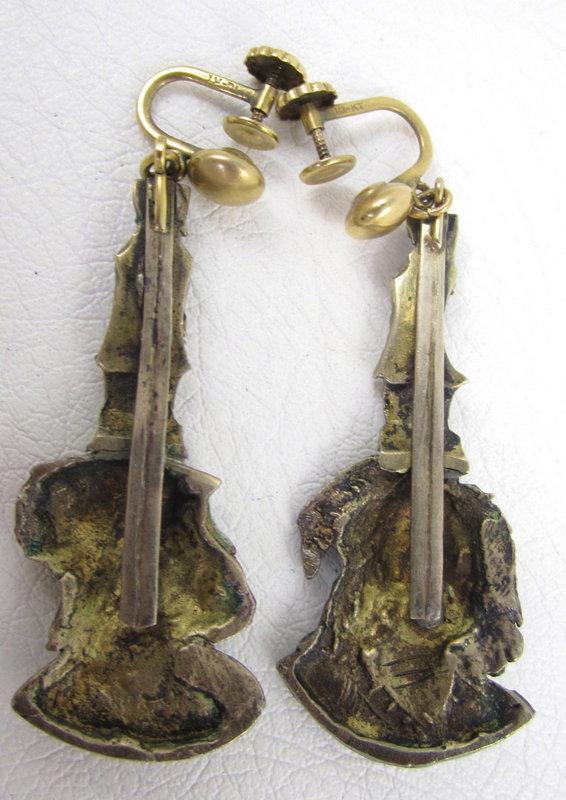 Unusual French Enamel Renaissance Style Earrings