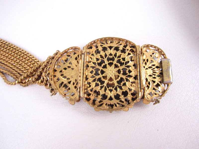 Elegant Czech Filigree Rhinestone Necklace and Bracelet
