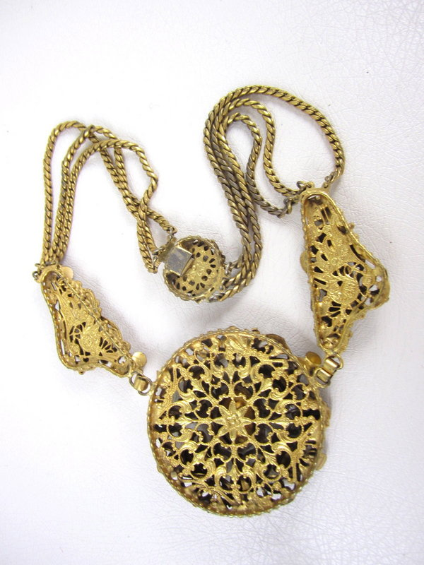 Elegant Czech Filigree Rhinestone Necklace and Bracelet