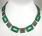 Lovely Czech Art Deco Filigree Green Glass Necklace
