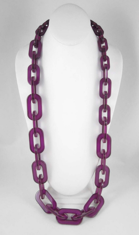 Delicious Translucent Plum Resin Link Necklace