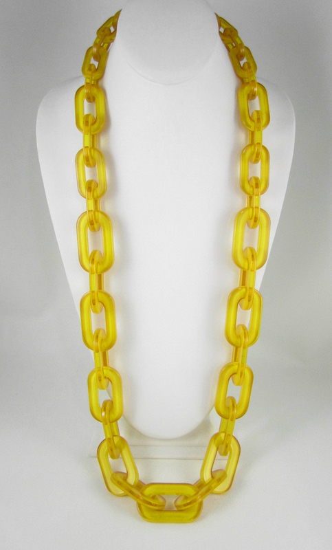 Radiant Translucent Yellow Resin Link Necklace