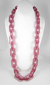 Pretty Pink Translucent Resin Link Necklace