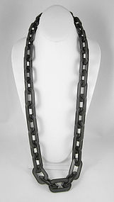 Gorgeous Gray Opaque Resin Link Necklace