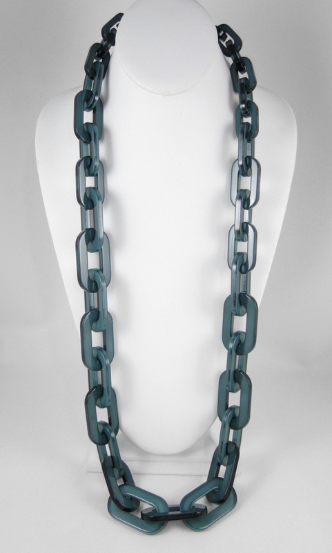 Terrific Teal Translucent Resin Link Necklace