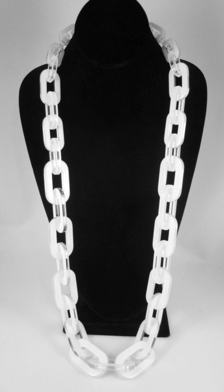 Versatile White Opaque Resin Link Necklace