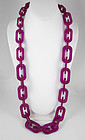 Fierce Hot Pink Translucent Resin Link Necklace