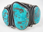 Beautiful Morenci Turquoise Sterling Navajo Bracelet