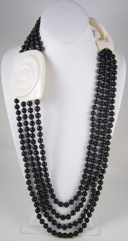 Stunning Patricia Von Musulin Ivory & Onyx Necklace