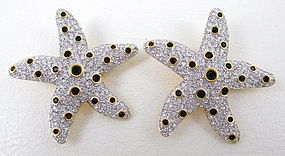 Dramatic Swarovski Crystal Starfish Clip Earrings