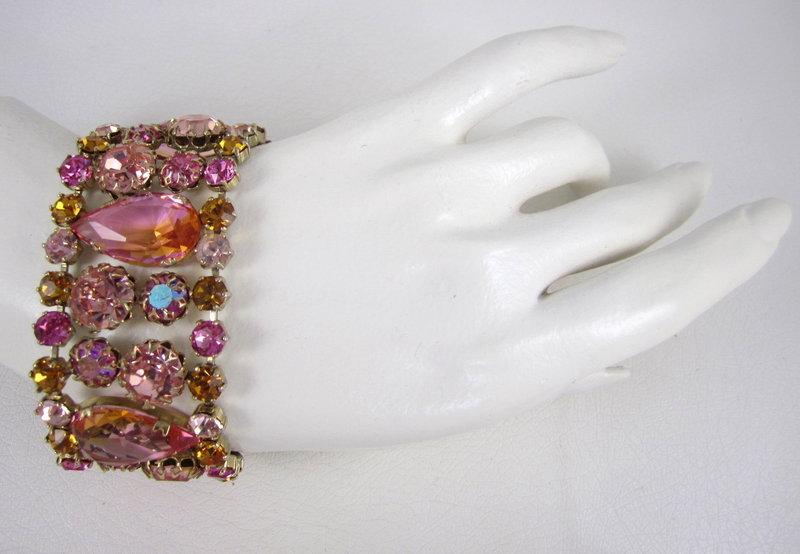Schreiner Vitrail Rhinestone Bracelet Pin & Earrings