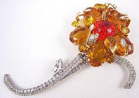 """Gorgeous Robert Sorrell Orange """"Night & Day"""" Flower Pin"""