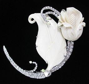 Amazing Robert Sorrell Ivory Rhinestone Flower Pin