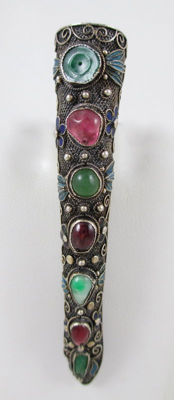 Chinese Export Silver Jade Garnet Finger Nail Cover Pin