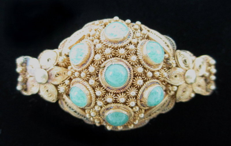 Lovely Chinese Export Filigree Sterling Jade Pin