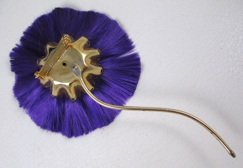 Whimsical Purple & Turquoise Powder Puff Flower Pin