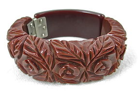 Gorgeous Heavy Carved Brown Bakelite Clamper Bracelet