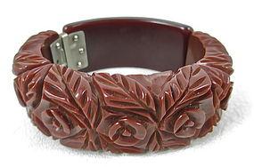 Gorgeous Heavy Carved Brown Bakelite Clamper Bracelet