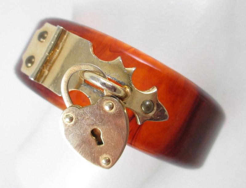 Unique Tortoise Bakelite Bracelet with Padlock Hardware