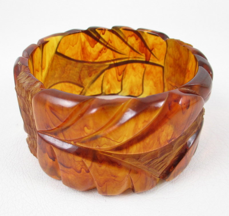 Wide & Unusual Tortoise Bakelite Carved Bracelet