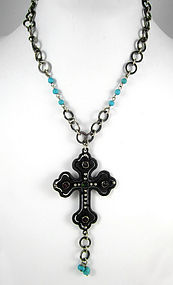 Beautiful Barbosa Turquoise Cross Necklace