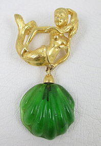 Lovely Andrew Spingarn Poured Glass Mermaid Pin