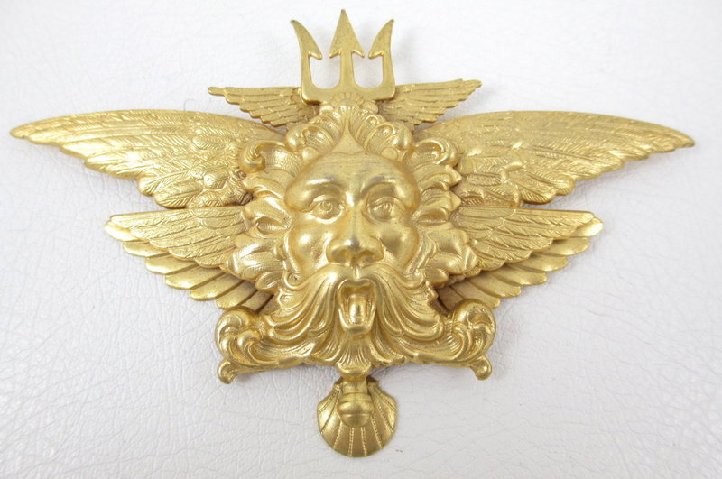 Unusual Andrew Spingarn Neptune w/ Trident Gold Pin