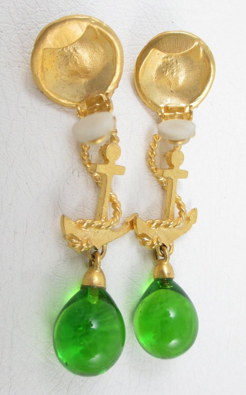 Andrew Spingarn Nautical Anchor Poured Glass Earrings
