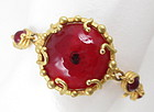 Gorgeous Andrew Spingarn Red Poured Glass Bracelet