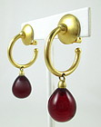 Classic Andrew Spingarn Ruby Red Poured Glass Earrings