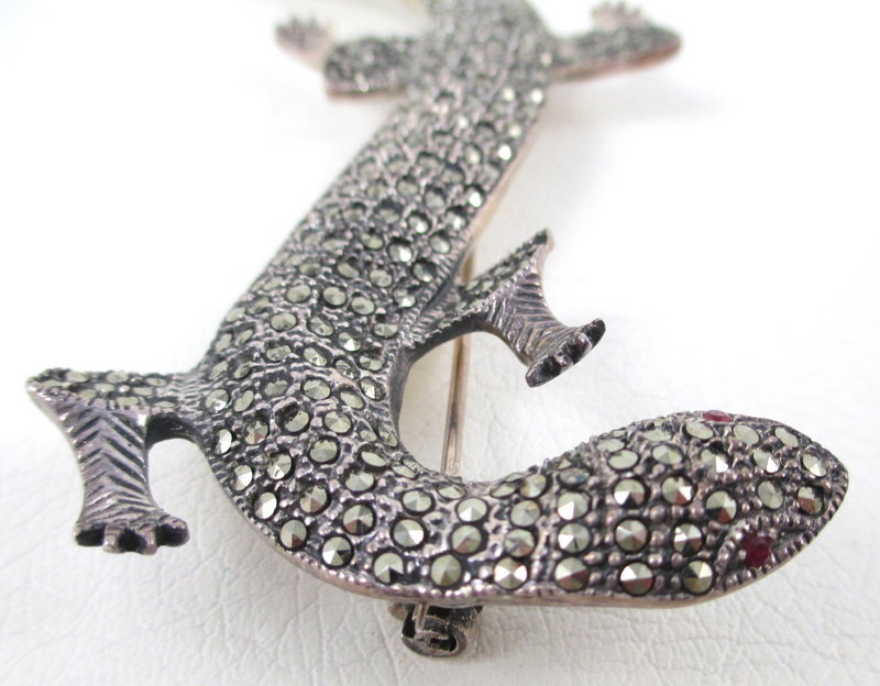 "Amazing Sterling Marcasite 5 1/2"" Lizard Pin"