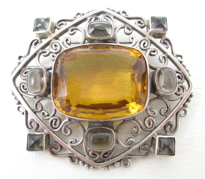 Gorgeous Soms Ornate Sterling Quartz Topaz Pin