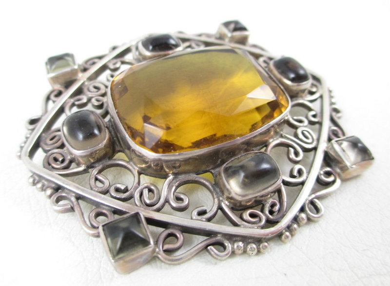 Gorgeous Soms Ornate Sterling Quartz Topaz Pin