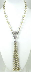 Art Deco Graziano Flapper Crystal Pearl Tassel Necklace