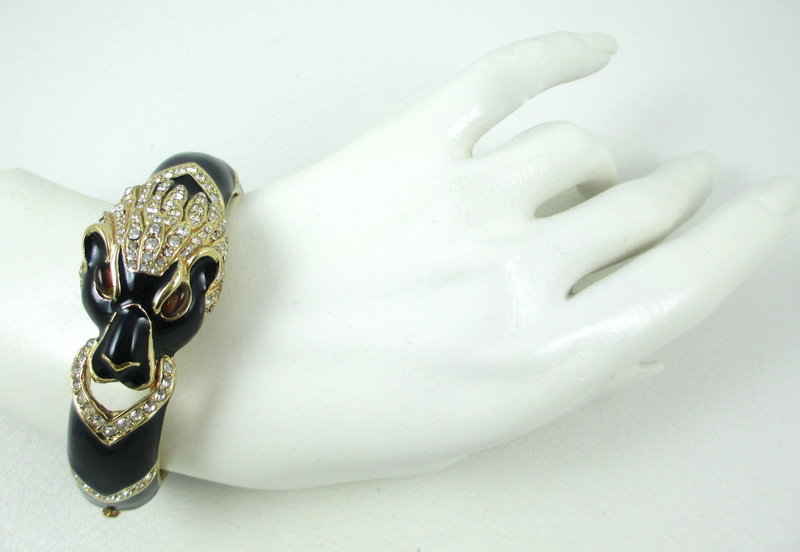 Classic Ciner Lion Enamel Crystal Bangle Bracelet