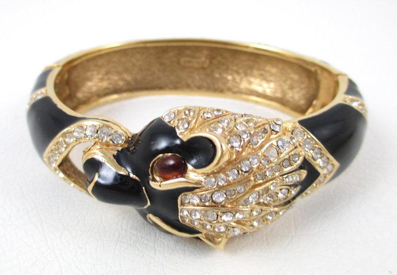 Classic Ciner Lion Enamel Crystal Bangle Bracelet
